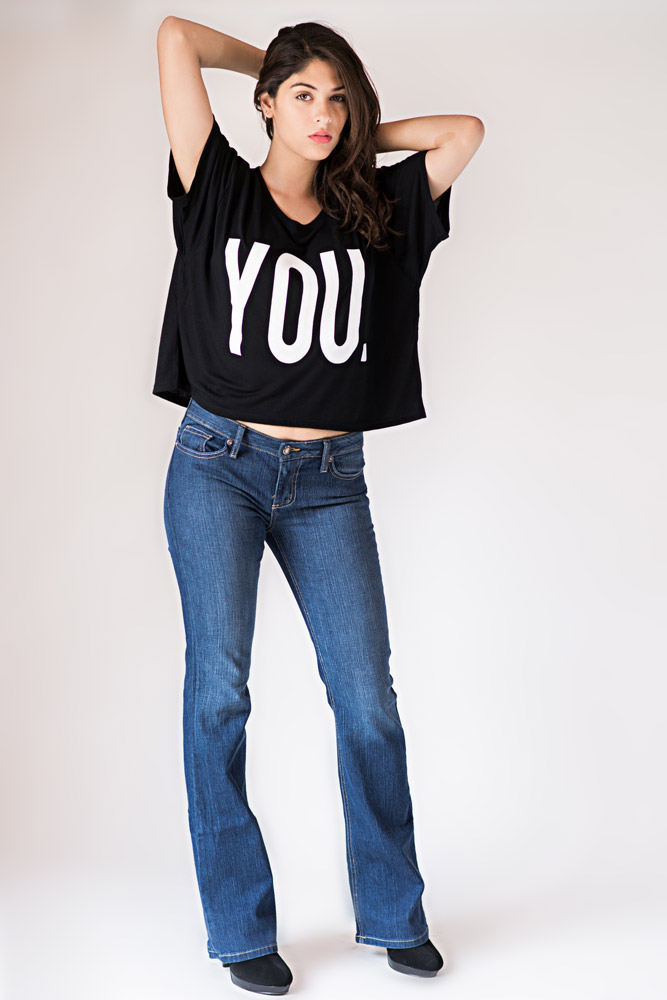 Bullet Blues Babe Designer Boot Cut Jeans and Li Cari YOU Crop Top - Made in USA
