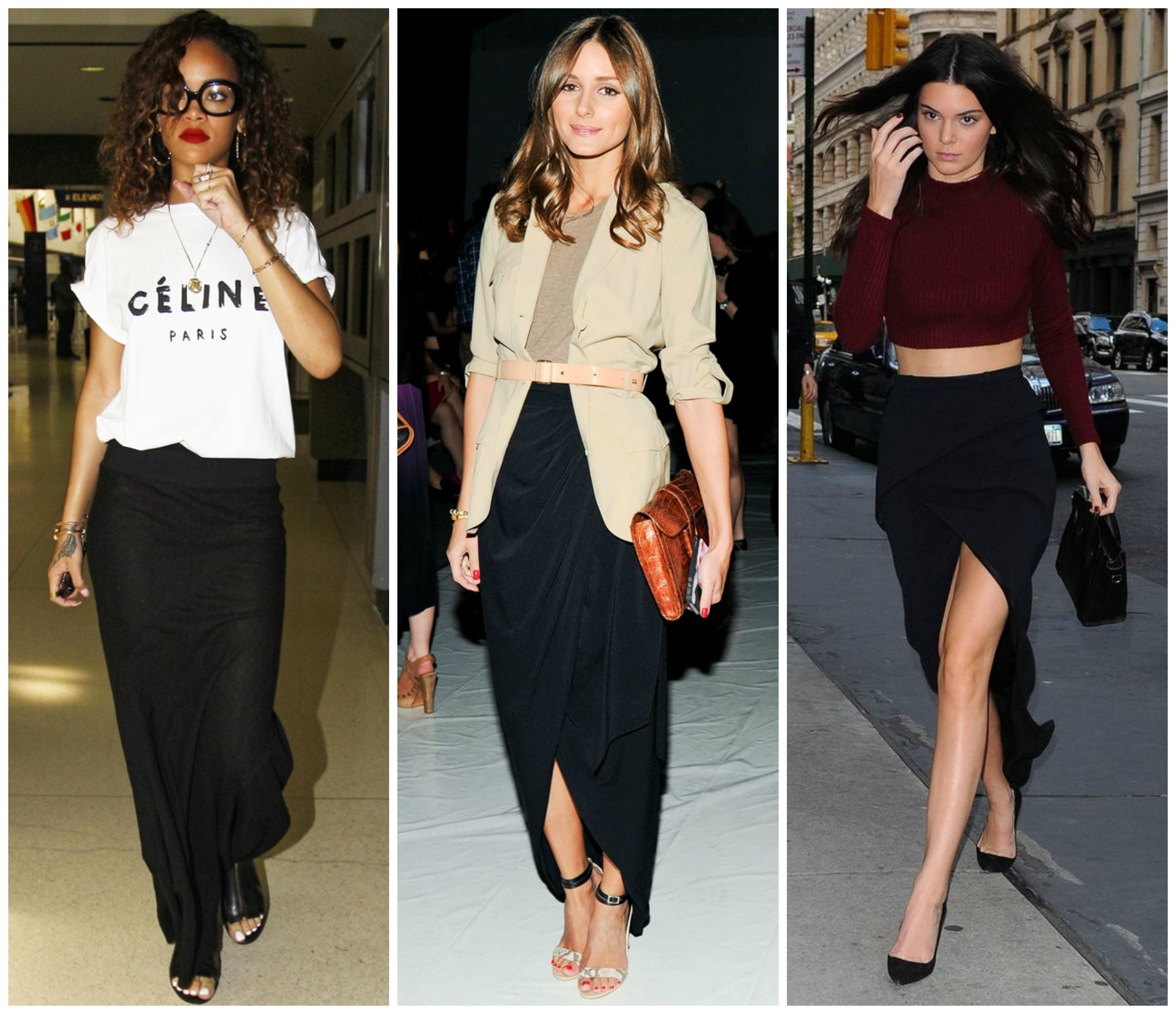 Celeb Style With Bullet Blues Black Maxi Skirt
