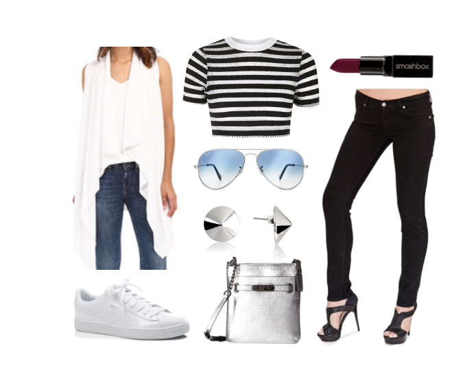 "BB Striped Top Look 3 - with Bullet Blues ""Chic Parisien"" black cigarette jeans made in USA"