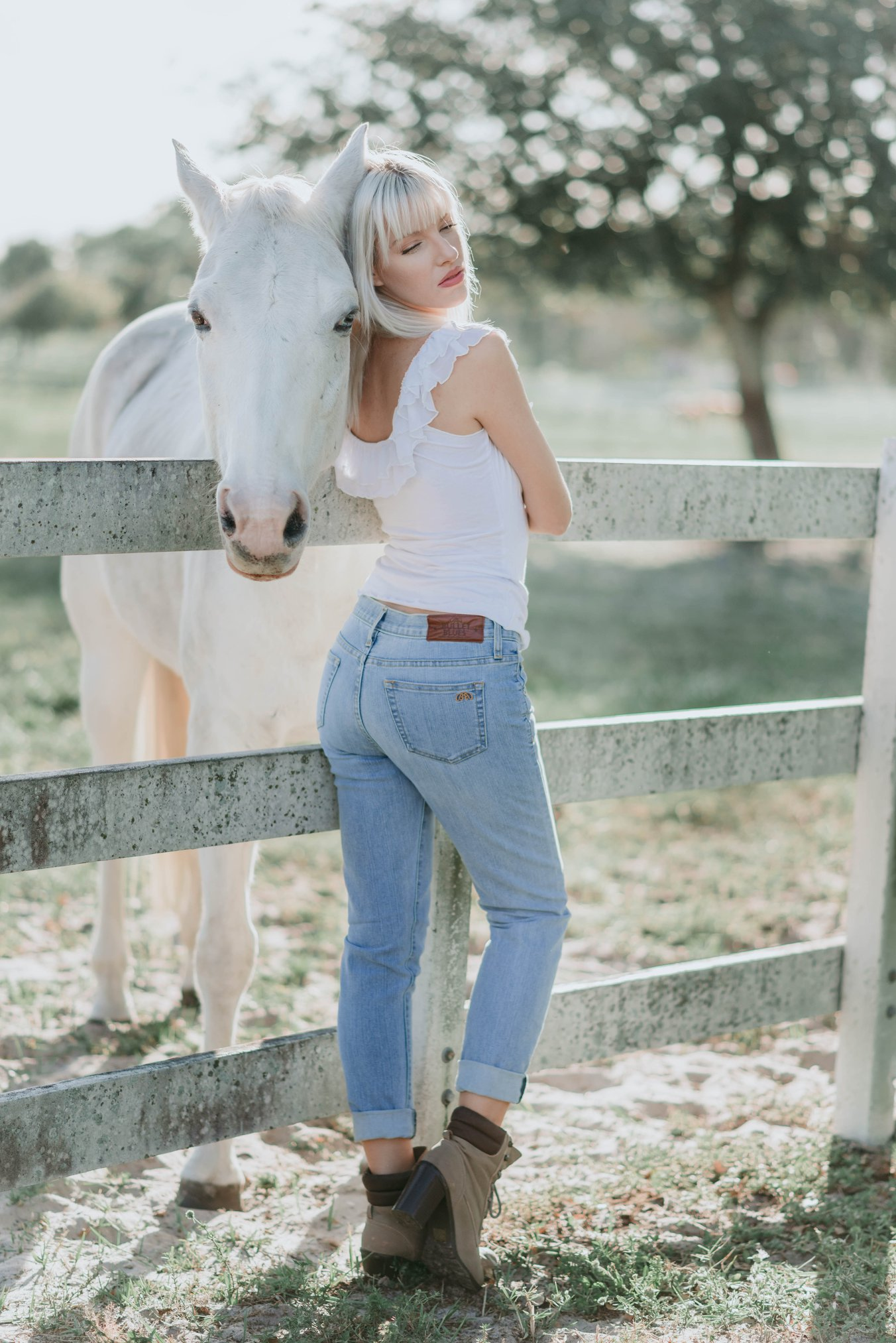Bullet Blues Claudie Romantic Top and Le Copain Reverie Boyfriend Jeans - Made in the USA