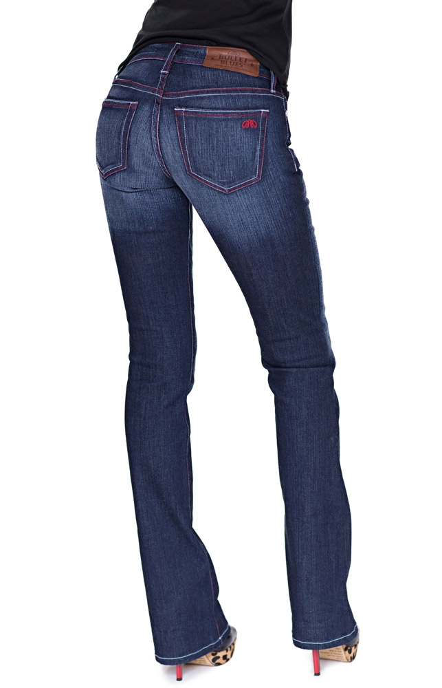 Bullet Blues Bombshell Bleu de Minuit - Dark Wash Boot Cut Jeans Made in USA. Bullet Blues Christmas Outfits Made in the USA