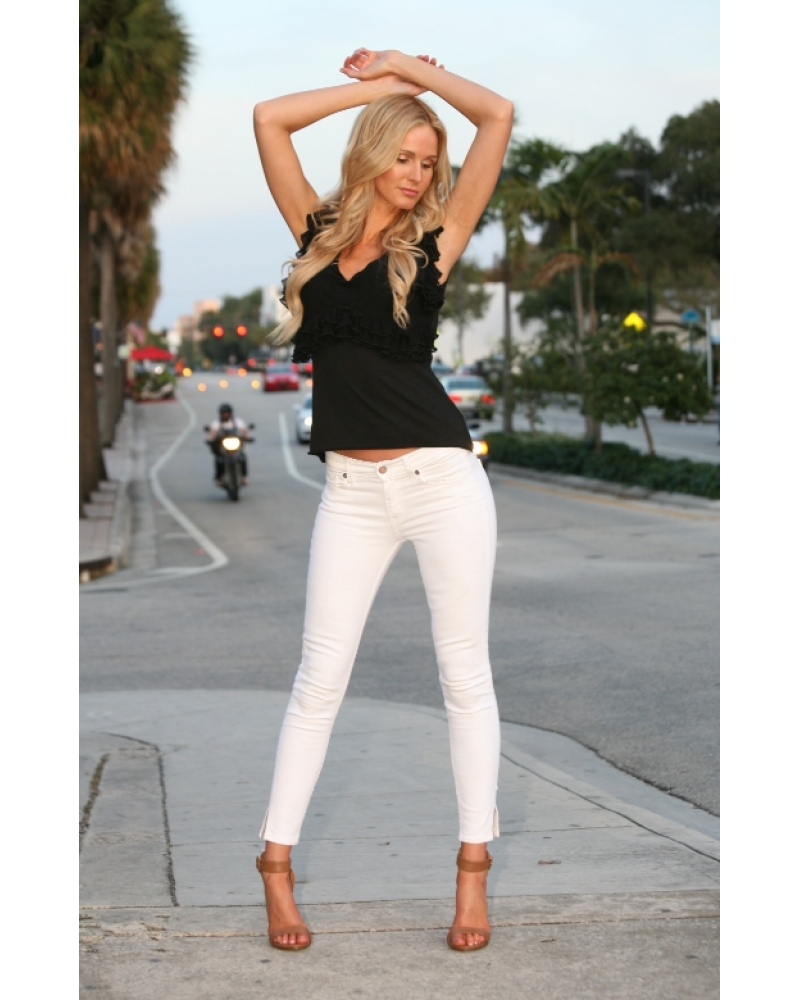 Bullet Blues Miami Chic Cropped White Skinny Jeans - Made in America