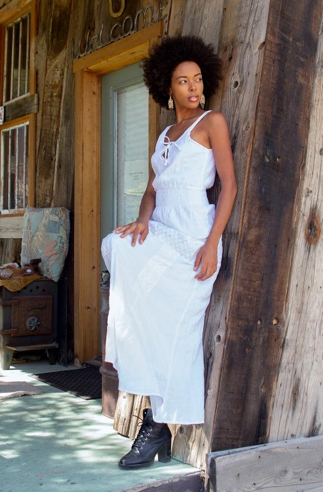 Bullet Blues Clothilde Designer Maxi Dress in White – Made in USA