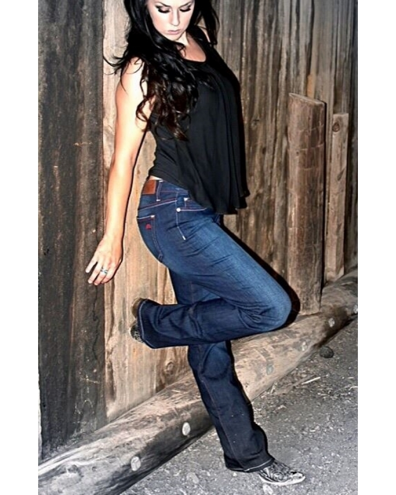 Bullet Blues Babe Audace - Dark Wash Cowgirl Boot Cut Jeans - Made in USA
