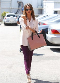 Jessica Alba Celeb Style File: Shop American Made Purple Jeans with Bullet Blues